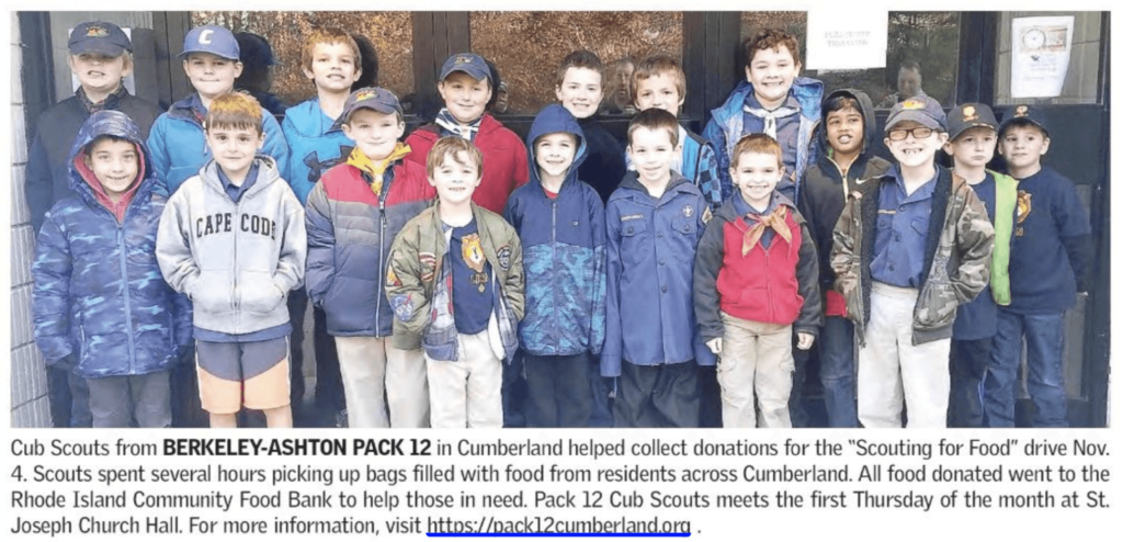 Cub scouts from Pack 12 participating in the annual Scouting for Food Drive